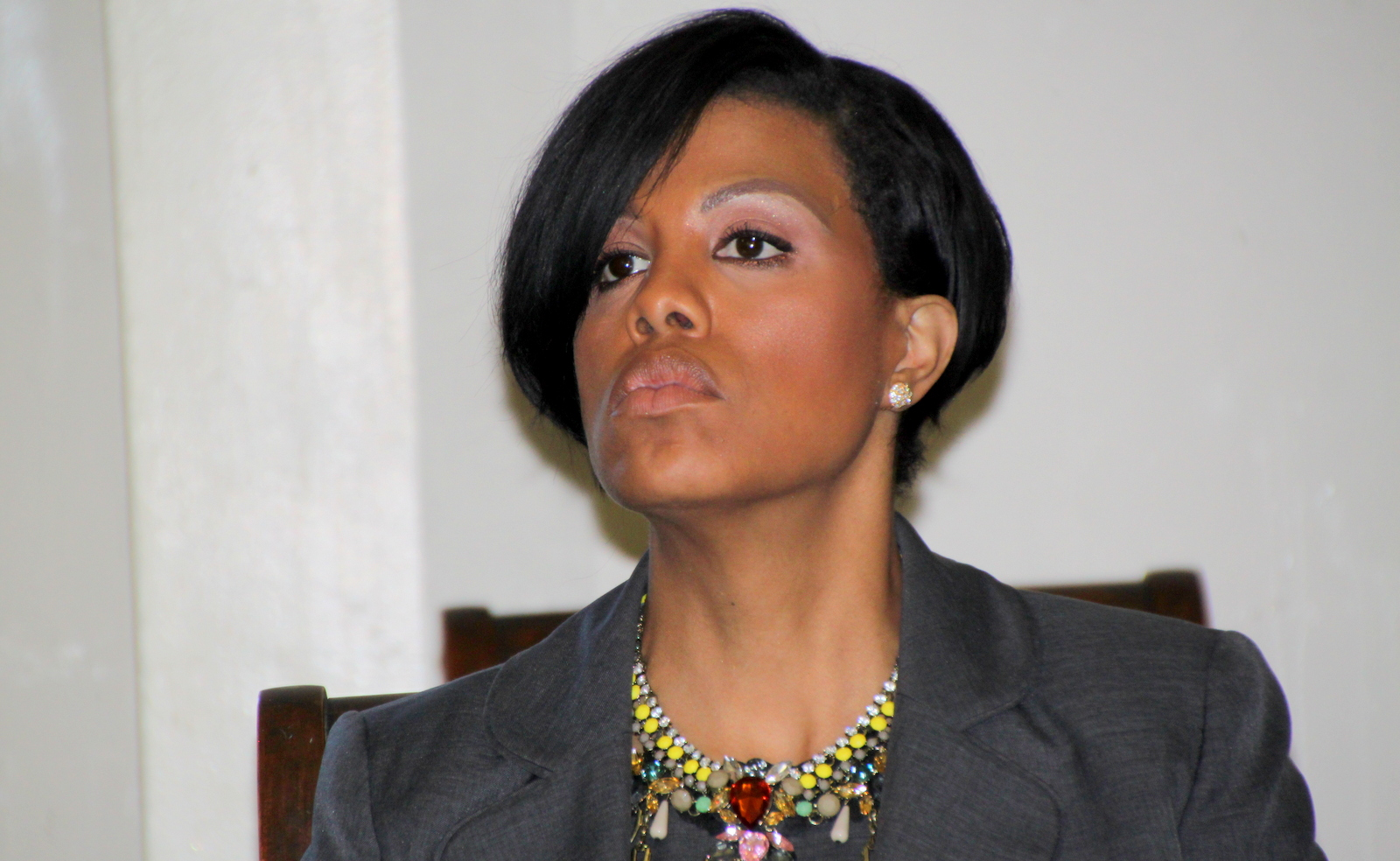Mayor Stephanie Rawlings-Blake awaiting the start of her final Taxpayers Night. (Fern Shen)