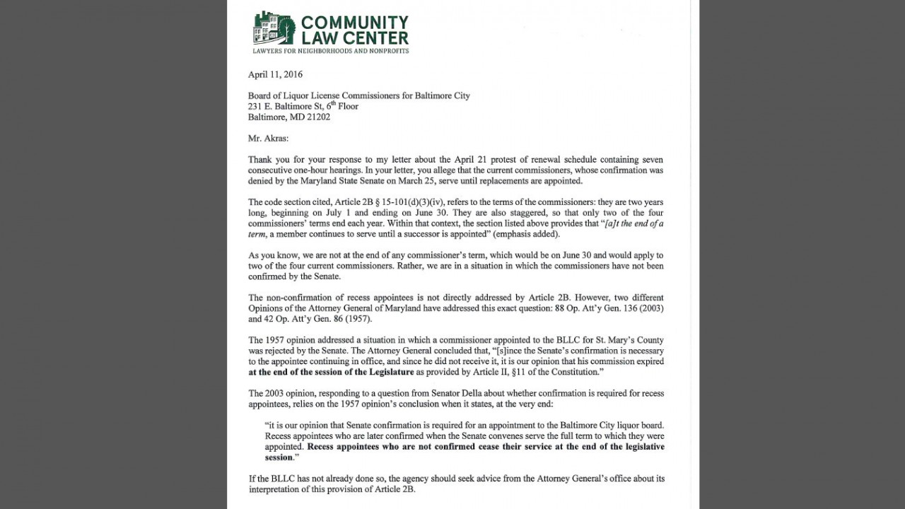 Letter (4/11/16) from Becky Witt to Baltimore Liquor board. 1/2