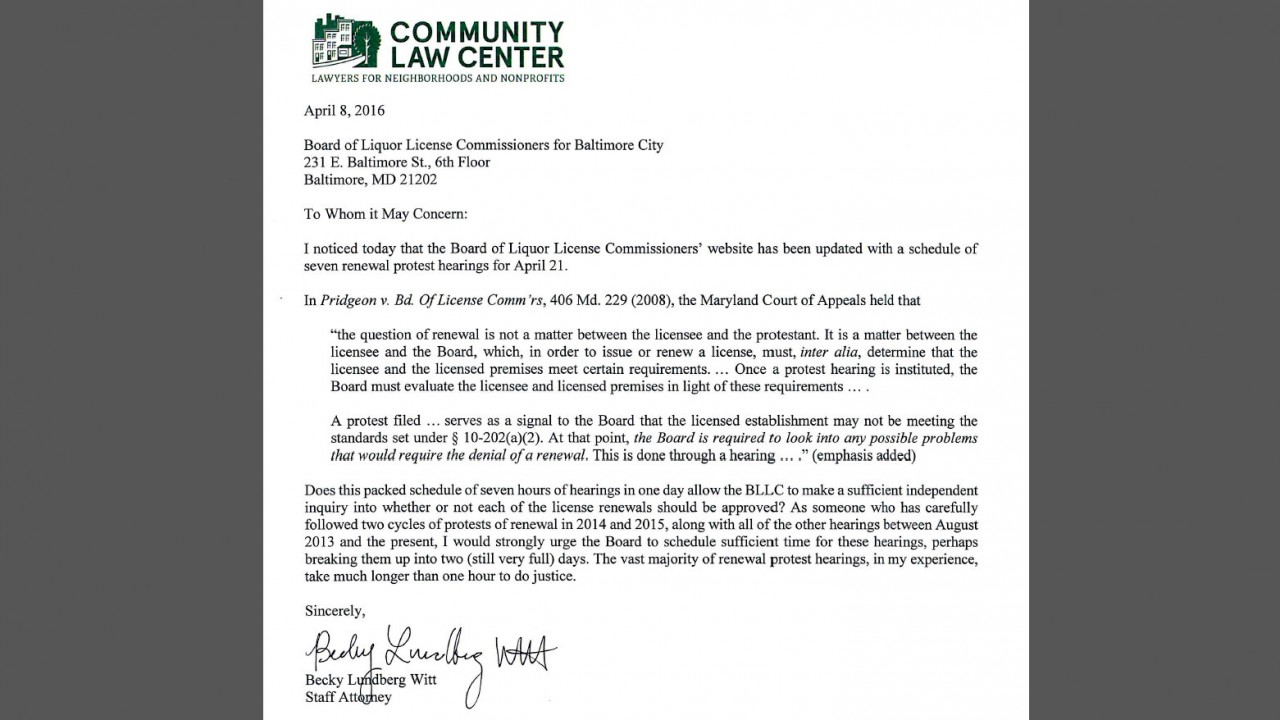 Letter to Baltimore Liquor Board from Rebecca Lundberg Witt, Community Law Center. (Community Law Center)