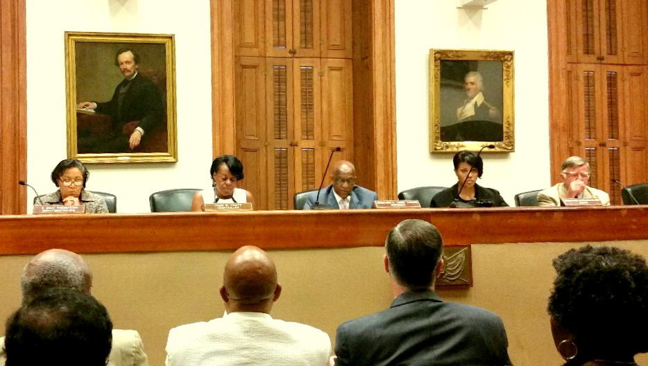 The Board of Estimates at its weekly meeting last August 19. From left: Dale Thompson subbing for an absent Rudy Chow, Comptroller Joan Pratt, Council President Jack Young, Mayor Stephanie Rawlings-Blake and City Solicitor George Nilson. (Mark Reutter)