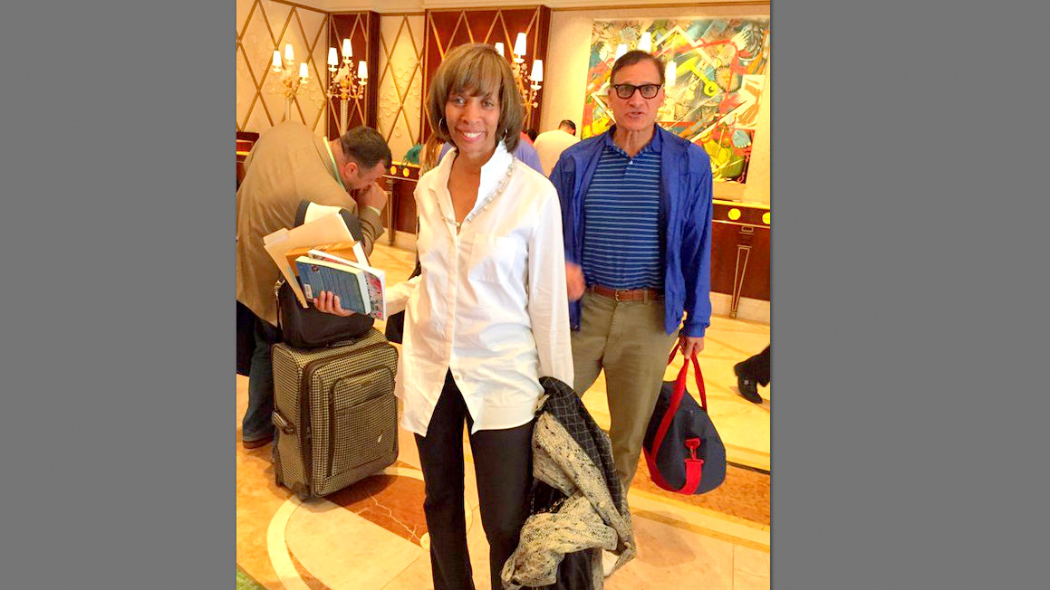 Mayoral nominee Catherine Pugh registers in a Las Vegas hotel on Sunday . She is accompanied by John A. Pica, a lobbyist for Walter Tilley's Home Paramount Pest Control Co. (@larryhow)