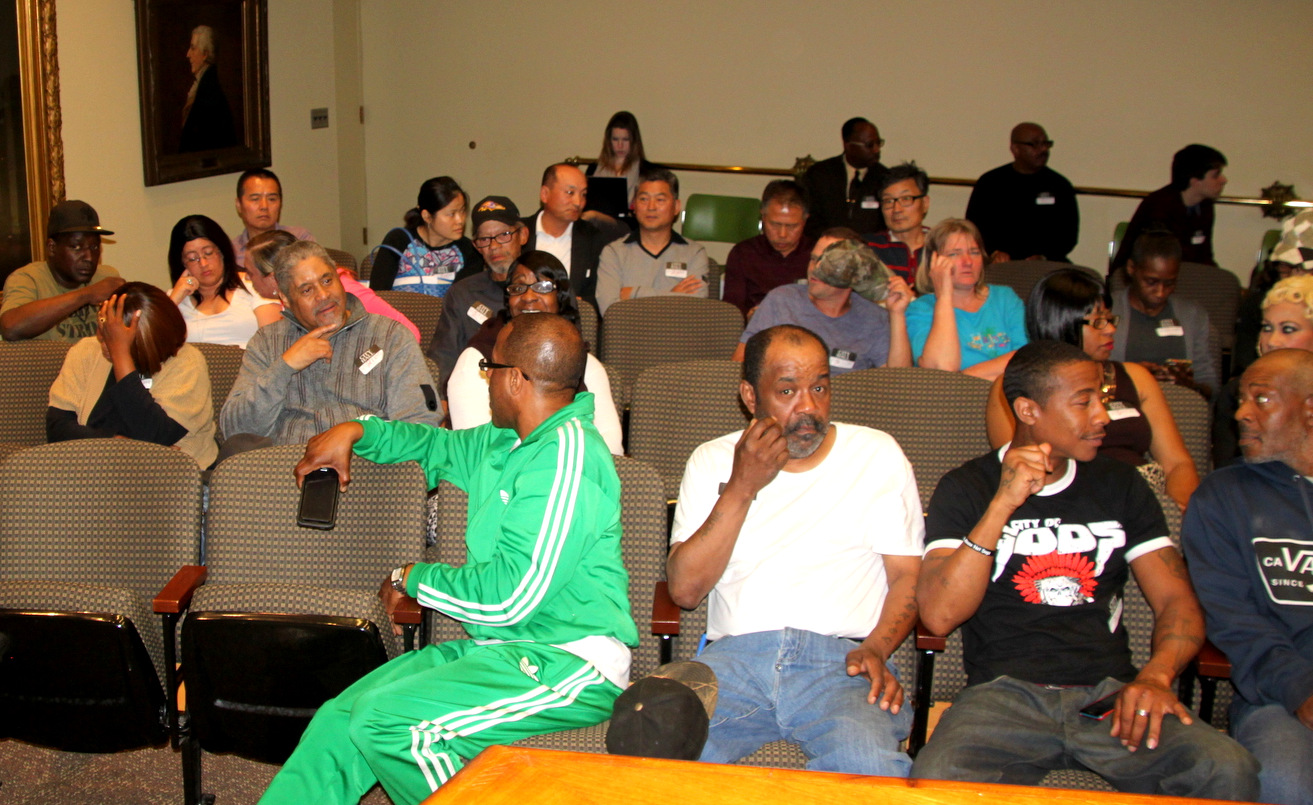 Stadium Lounge patrons and supporters at last month's Liquor Board hearing. (Fern Shen)
