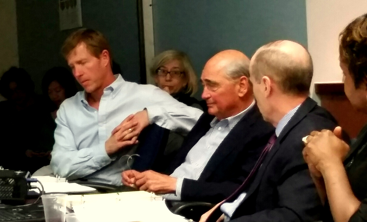 Board of Finance's May 9 meeting. Left to right: Larry Silverstein, Fred Meier Jr. and Steve Kraus. (Mark Reutter)