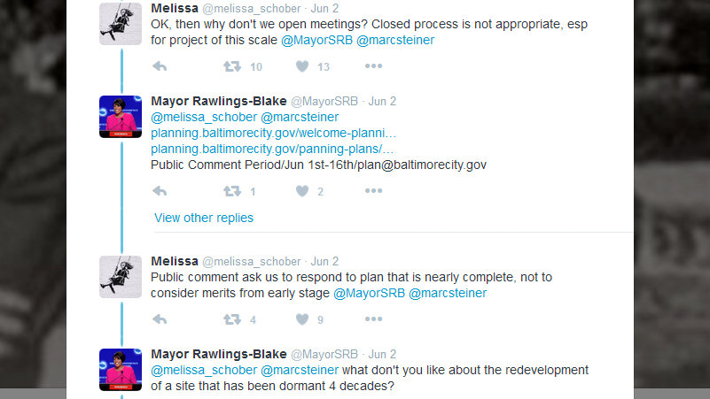 An online exchange over Port Covington between the mayor and residents earlier this month. (Twitter)