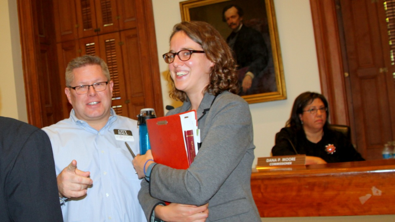 Jason Curtis and Becky Witt after the Liquor Board's 2-1 vote in May