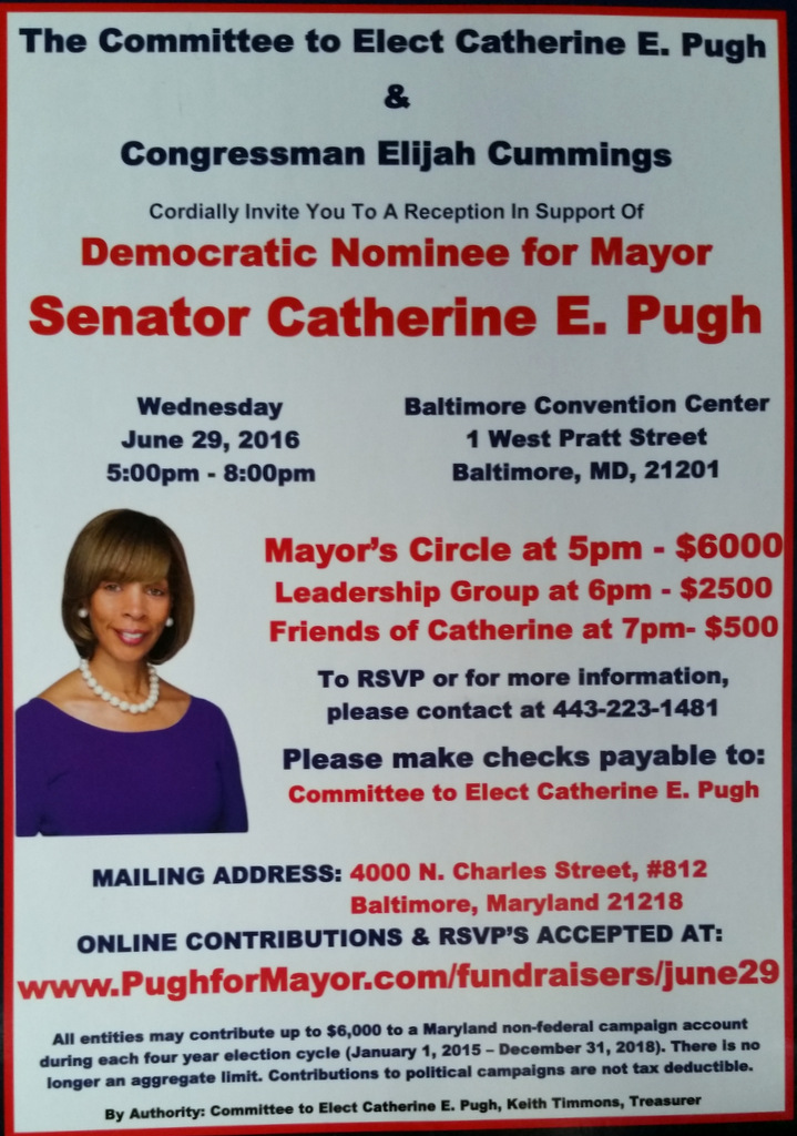 The Pugh fundraiser on June 29, lists the campaign contributions expected by those who attend. (Committee to Elect Catherine E. Pugh)