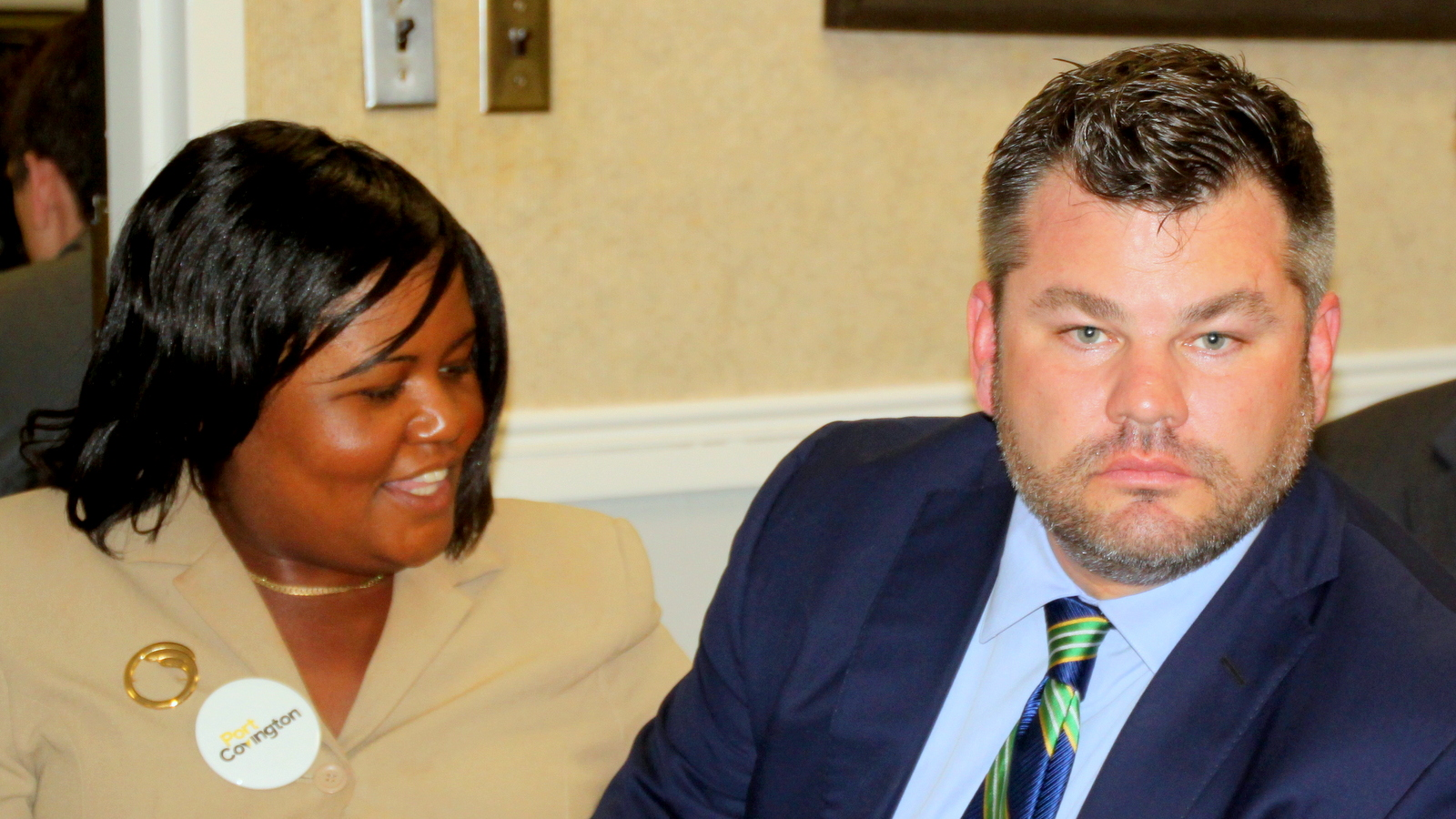 Sagamore's Alicia Wilson, with company president Marc Weller, at a meeting last month. (Fern Shen)