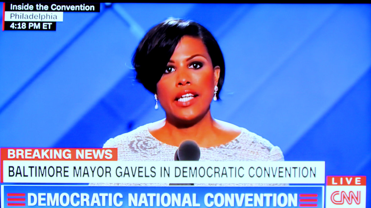 The mayor on CNN as she made her remarks at the Democratic National Convention.