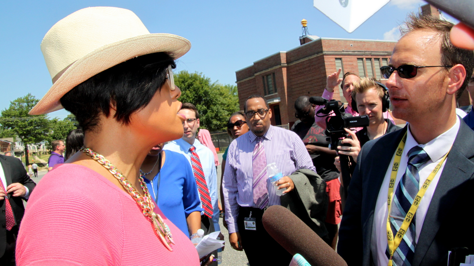 Mayor Stephanie Rawlings-Blake answers media questions about the SB6 community benefits agreement for Port Covington. (Fern Shen)