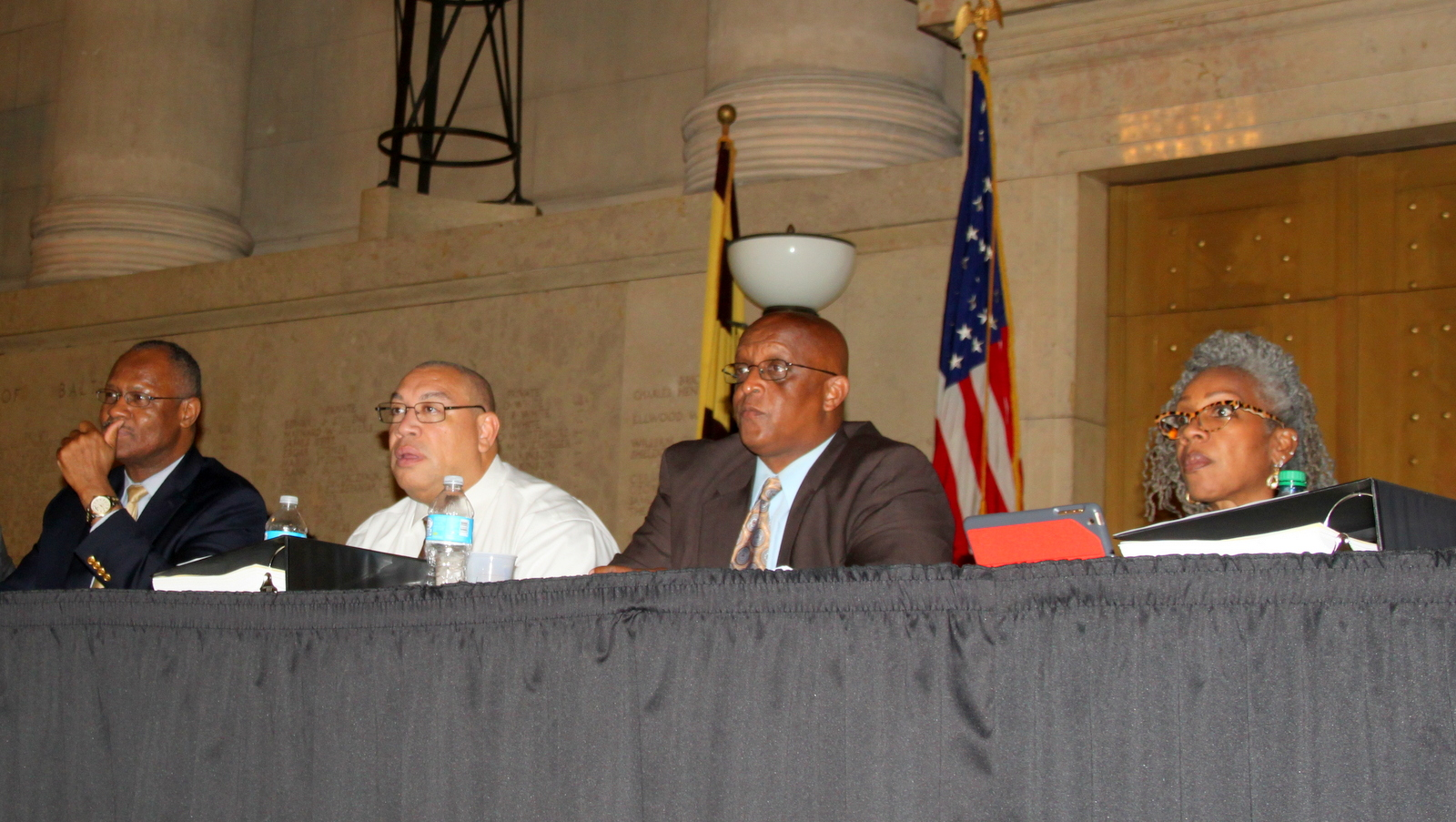 Councilmembers (l-r) Carl Stokes, Bill Henry, Jack Young (Chairman) and Helen Holton at committ4ee hearing on Port Covington. (Fern Shen)