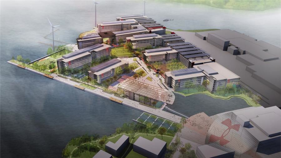 An artist's rendering of the Under Armour campus at Port Covington, framed by a rebuilt pier and the hydrothermal lake, together costing over $45 million in TIF financing. (Sagamore Development Co.)