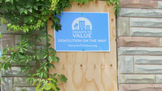 City Vacants to Value sign on 40 Franklintown Road promises
