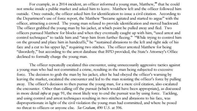 Page 78 DOJ report on Baltimore Police Department