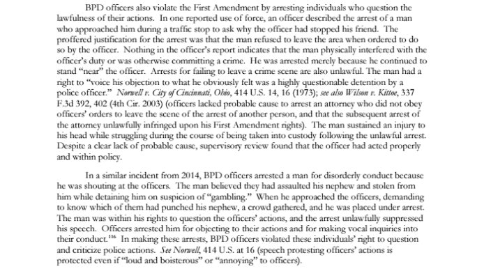 DOJ first amendment Justice Department Investigation of the Baltimore Police Department page 117