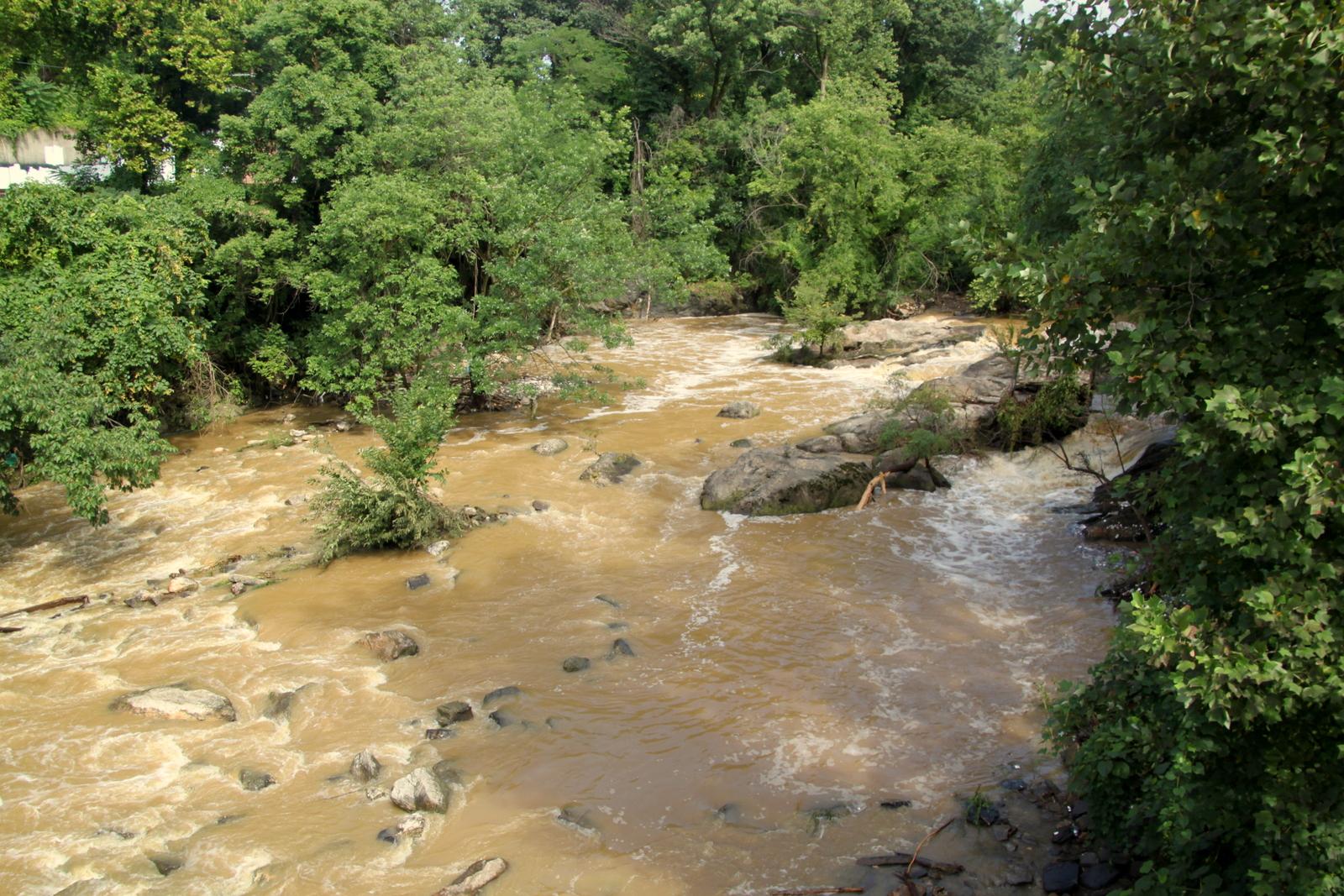 The Jones Falls on Sunday morning, following severe rainstorm Saturday night. (Fern Shen)