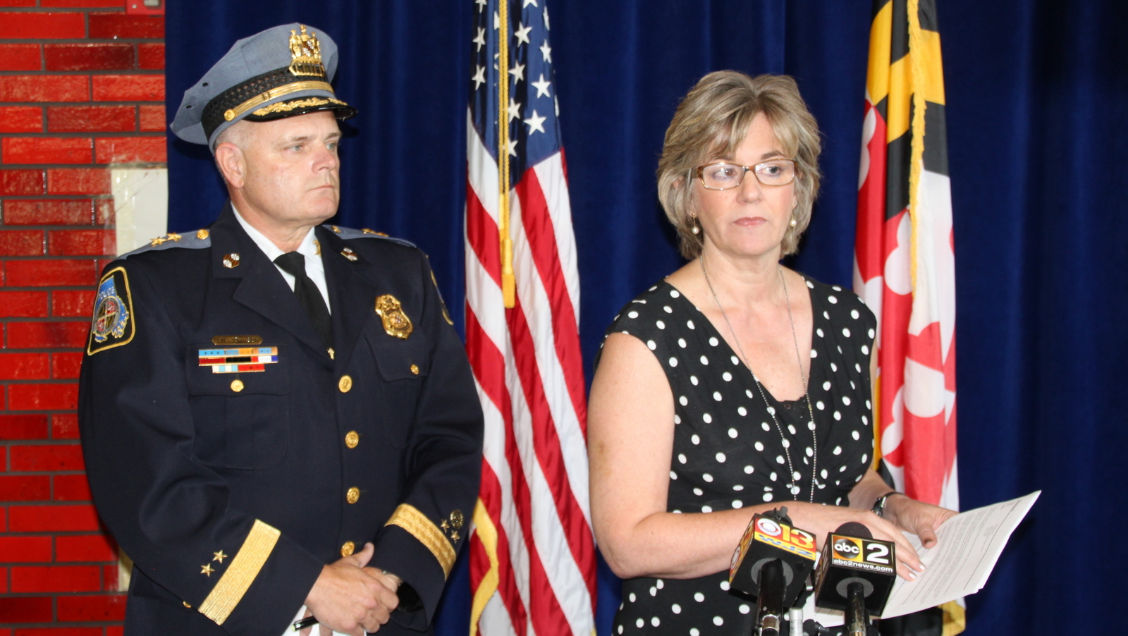 Baltimore County Police spokeswoman Elise Armacost, with Chief Jim Johnson, discuss the police shooting of Korryn Gaines. (Fern Shen)