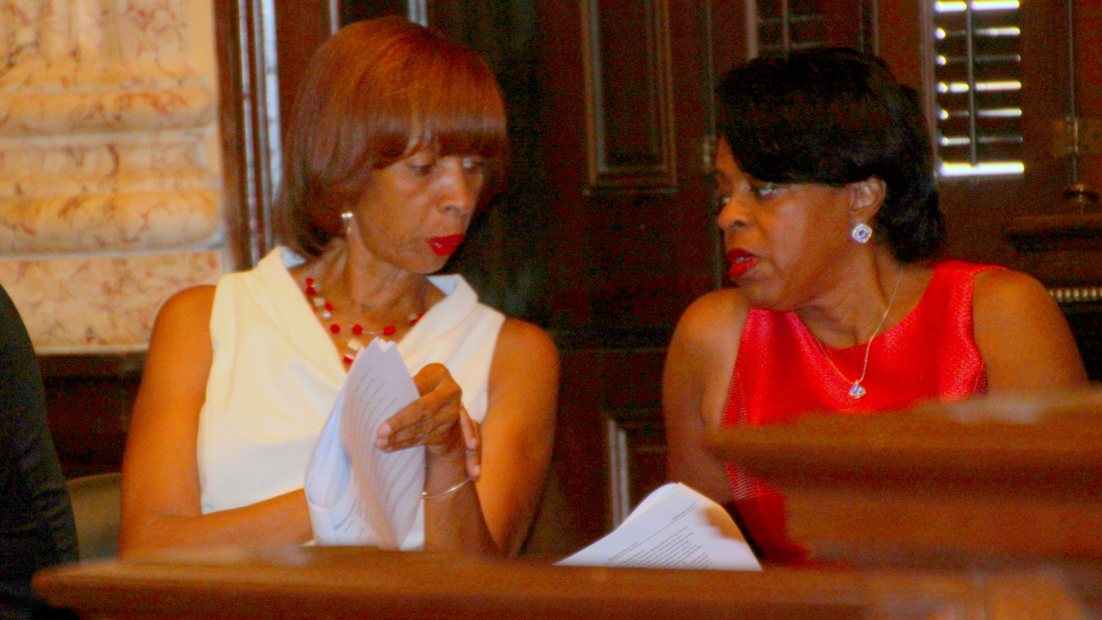 Sen. Catherine Pugh and Comptroller Joan Pratt watch City Council vote on Port Covington TIF. (Fern Shen)