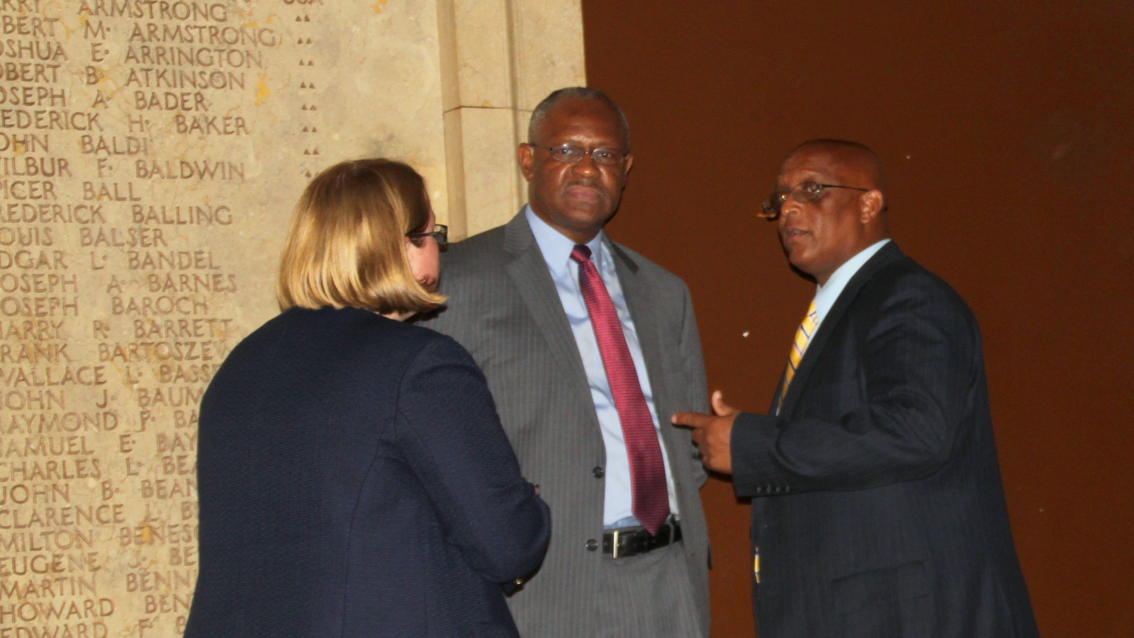 Councilman Carl Stokes (center) with Council President Jack Young, after Stokes declared the meeting recessed. (Fern Shen)