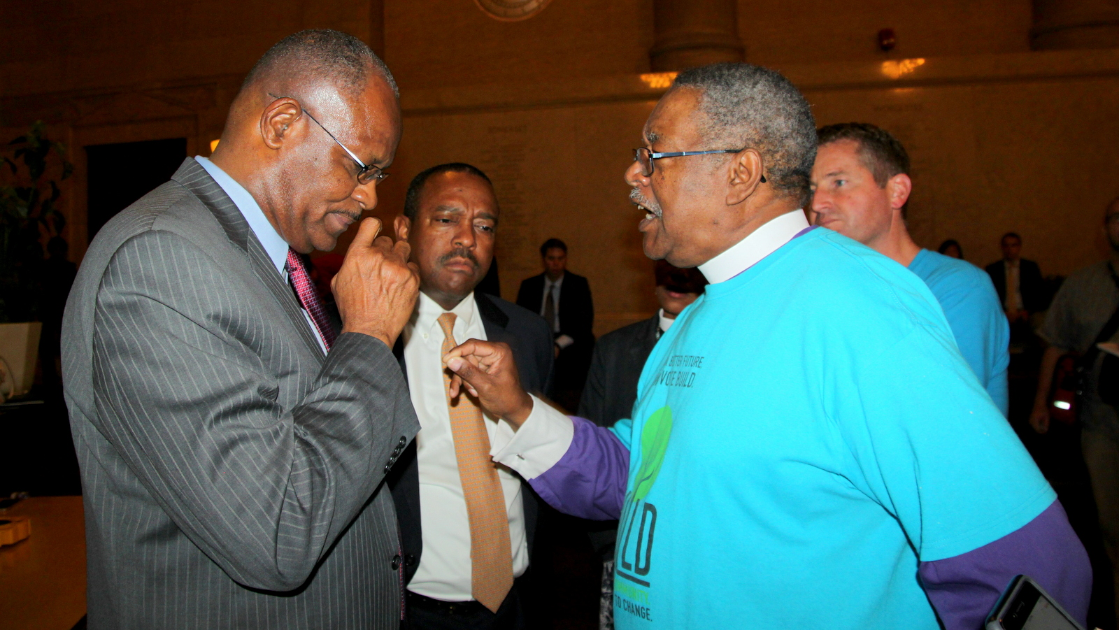 Bishop Douglas Miles of BUILD blasts Councilman Carl Stokes after Stokes abruptly recesses before the committee takes up the $660 million Port Covington TIF bond bill. (Fern Shen)