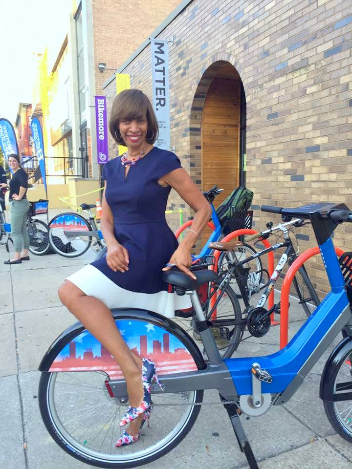 Democratic nominee for mayor Catherine Pugh at a Bikeshare Baltimore preview event. (bikemore.net)