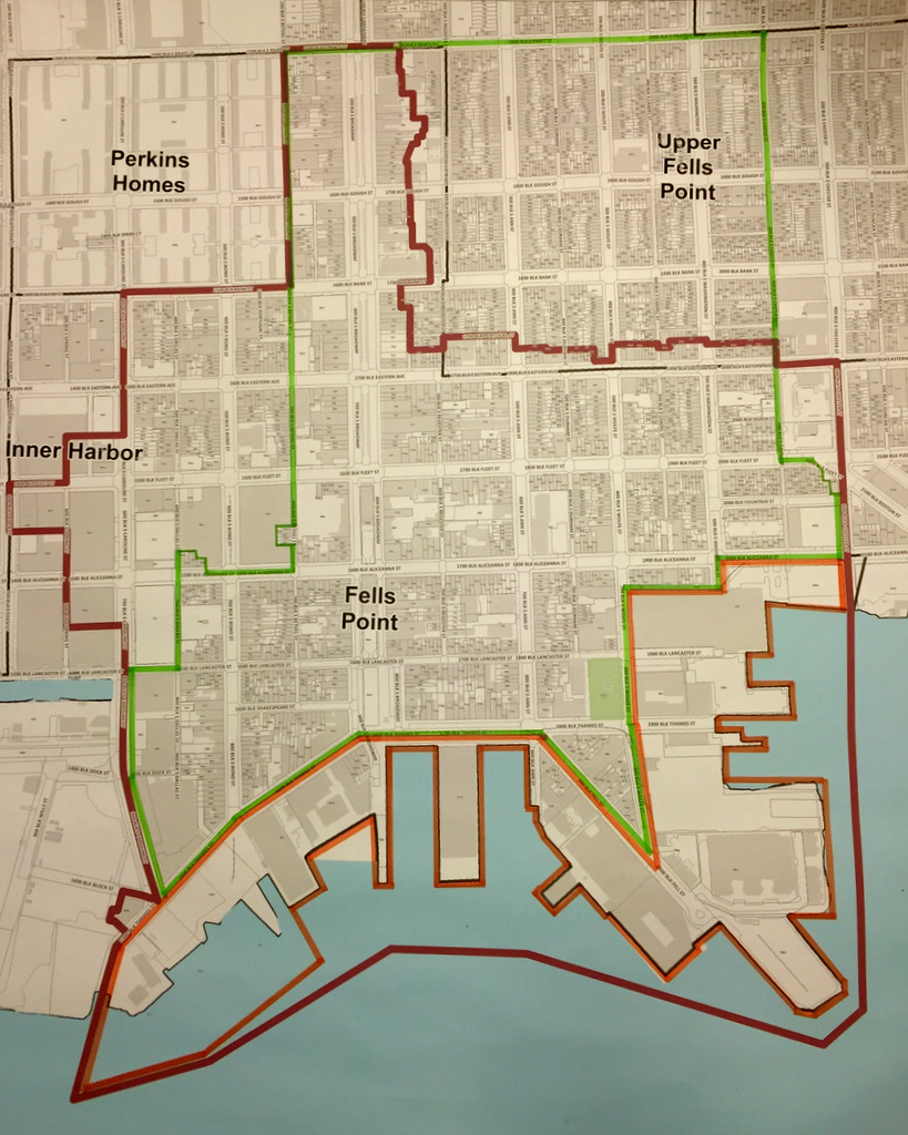 In brown, the Fells Point overlay district originally proposed by community groups. In green, the CHAP historic district zone that was originally proposed as the overlay district by Councilman Kraft. The overlay district was not introduced as the Land Use and Transportation Committee did not final markup of the new TransForm zoning law today. (Fells Fell Task Force)