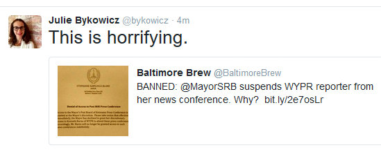 Julie Byckowicz, formerly of the Baltimore Sun, now at the Associated Press, on Mayor rawlings-Blake's banning of WYPRs Kenneth Burns.