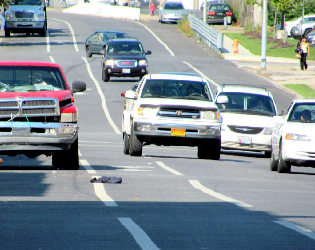 Some area residents complain that vehicles are driving in the new lane intended for cyclists. (Fern Shen)