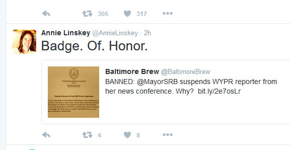 Annie Linskey, formerly of baltimore Sun, now at Boston Globe on Mayor Rawlings-Blake banning reporter Kenneth Burns.