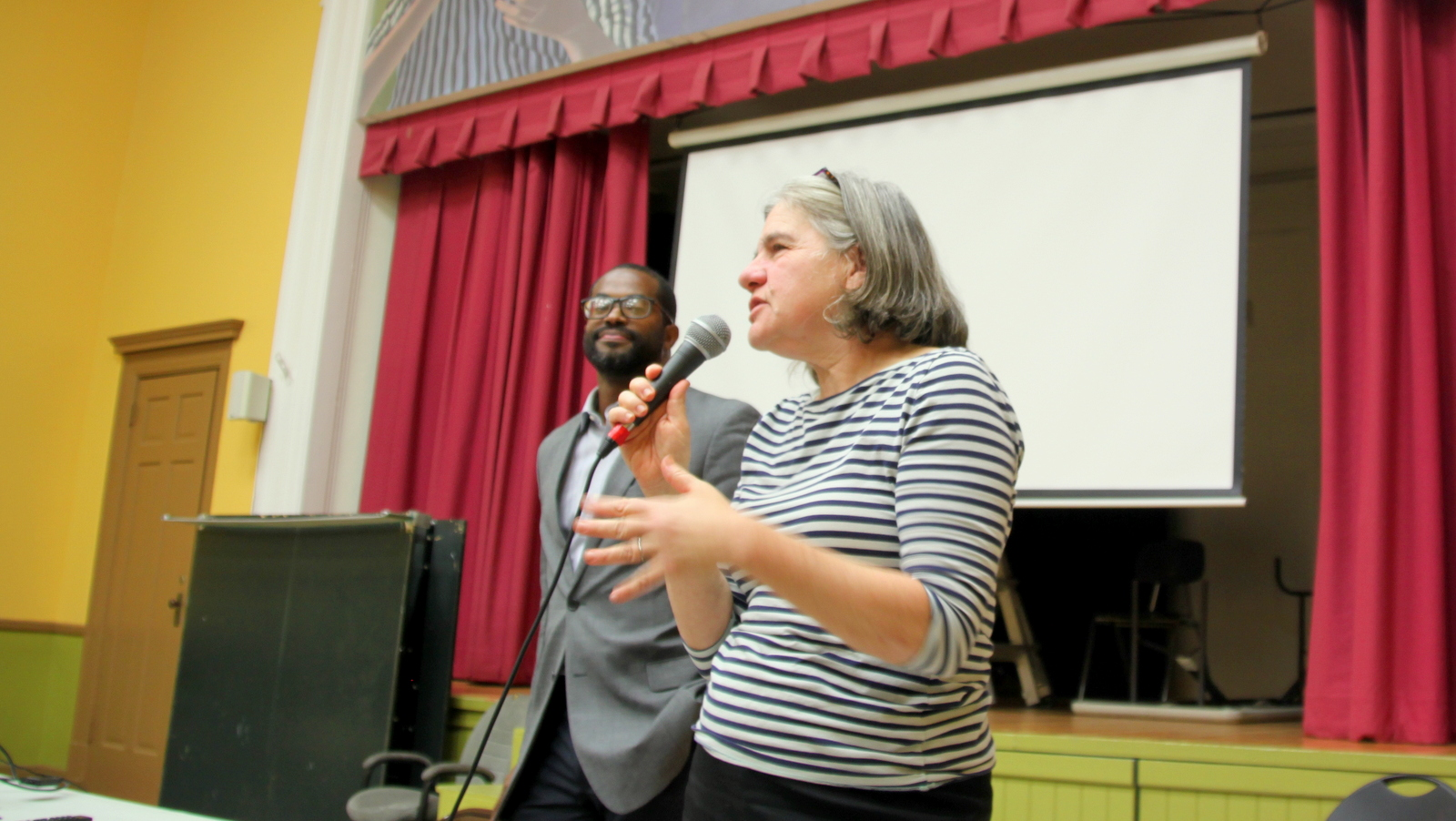 The Planning Department's Laurie Feinberg speaks about Transform, the city-wide rezoning process, as Nick Mosby listens. (Fern Shen)