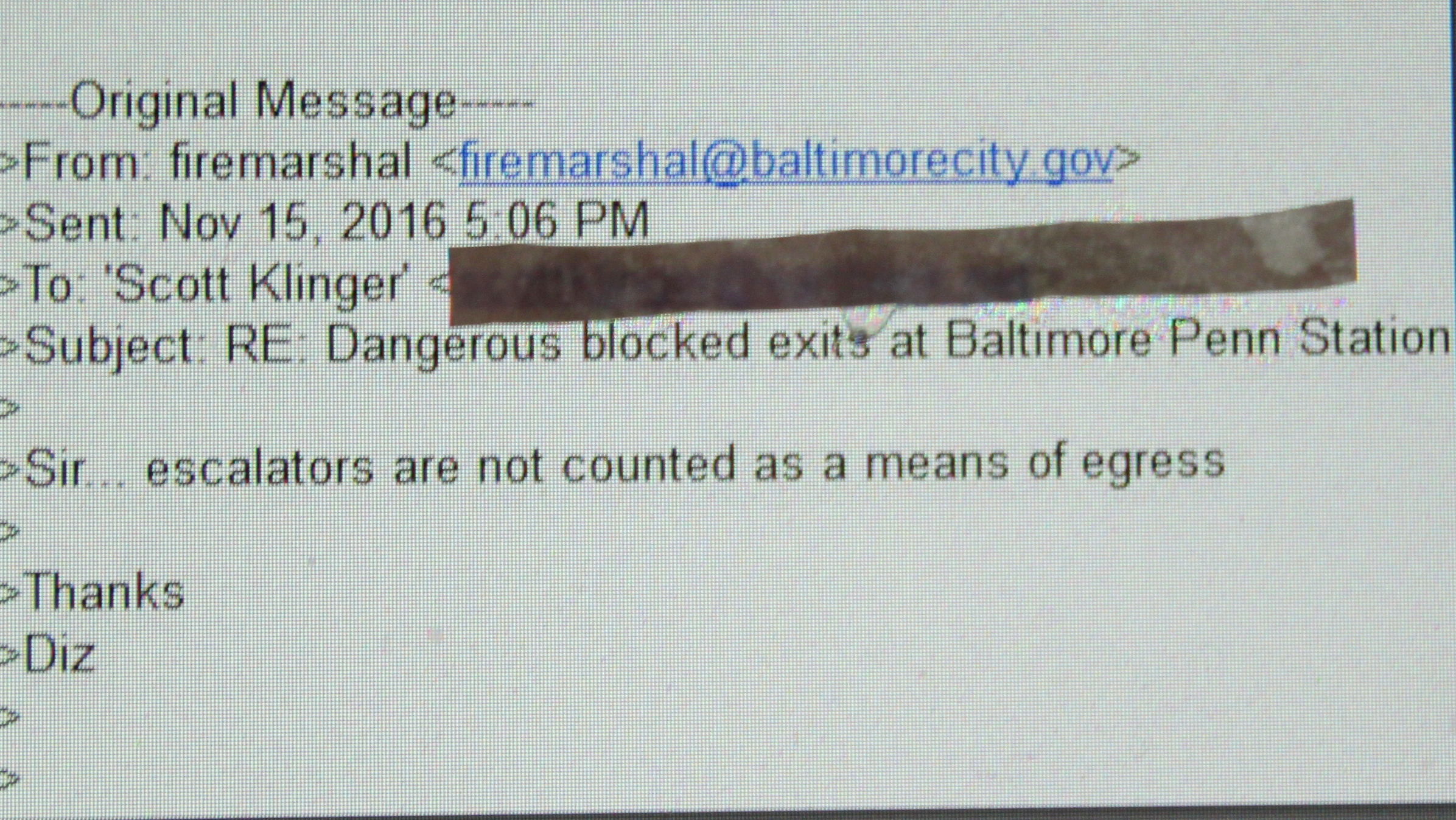 Baltimore City Fire Marshall reply to Scott Klinger re penn station escalator