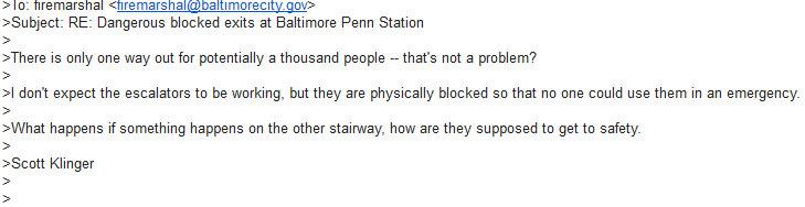 Scott Klinger's reply to Baltimore Fire Marshall re Penn Station escalator