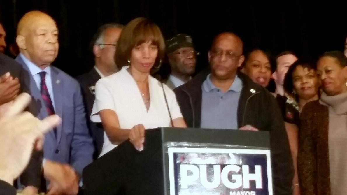 Catherine Pugh declares victory at Tuesday's election night party at the downtown Raddison. (Mark Reutter)