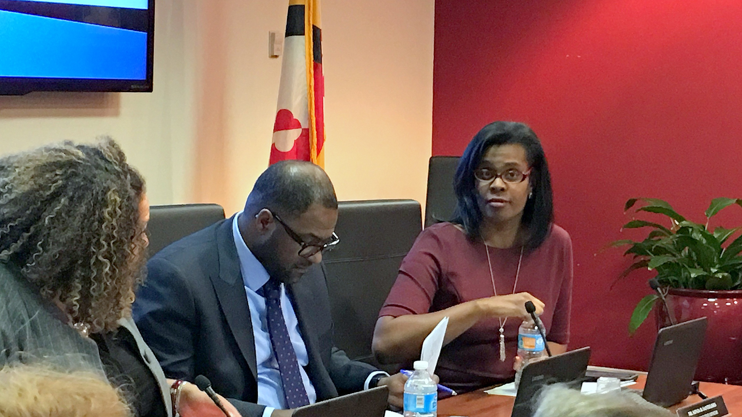 Baltimore City Schools CEO Sonja Santelises listens to testimony at a hearing on school closures. (Fern Shen)