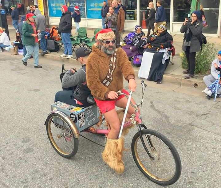 Will Bauer, aka Lou Catelli, in Sunday's parade. (Rich Gibson Facebook)