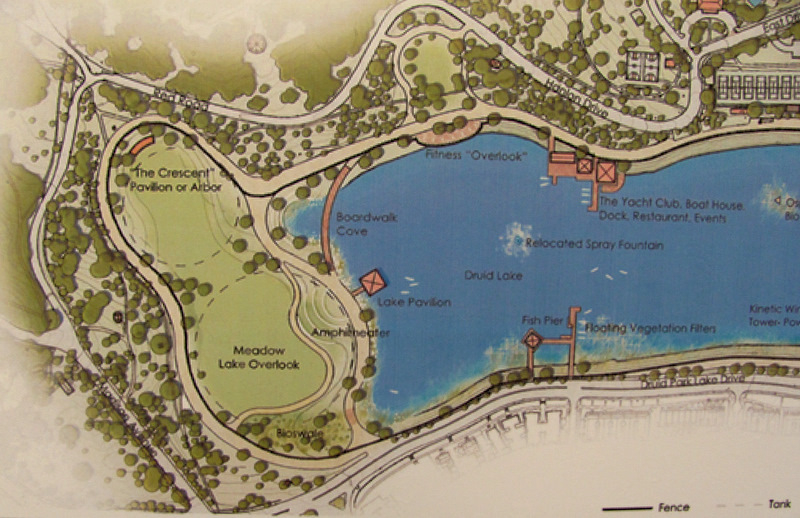 The western end of Druid Lake (cosnsiting of 6.3 acres) will be drained for the placemnt of two underground tanks – one 550 feet and the other 400 feet in diameter – then converted into open space, listed here as Meadow lake Overlook and The Crescent Pavilion or Arbor. The current lake perimeter pathway will be restored and a new pathway to planned along the new truncated shoreline. (Baltimore DPW)