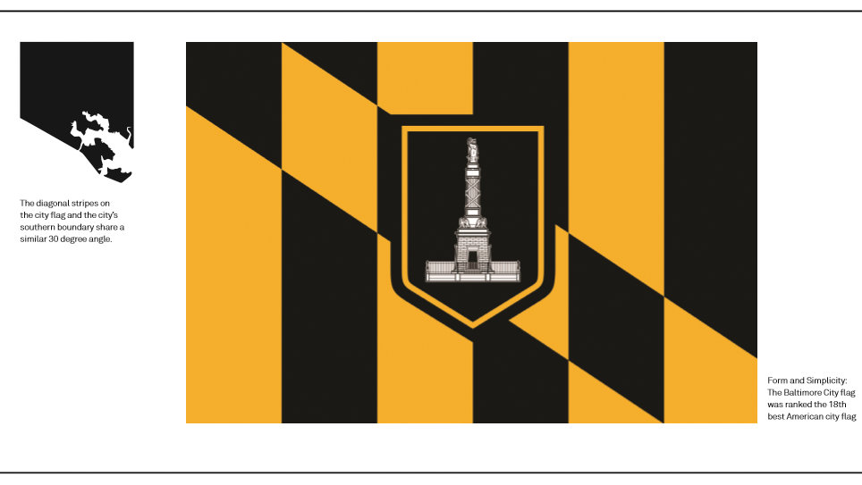 The 30 degree angle: from Baltimore's flag and its physical boundary. (Ashton Design)