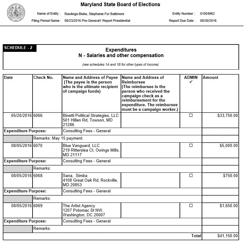 Some of the consulting fees charged to the mayor's political committee in its August 2016 Pre-General Report. (Maryland State Board of Elections)