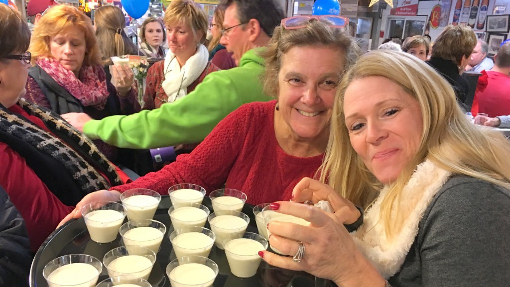 Eggnog served up recently by Anna Epsilantis, owner of Big Jim's Deli, one of the Cross Street Market businesses told to vacate by May 1. (Fern Shen)