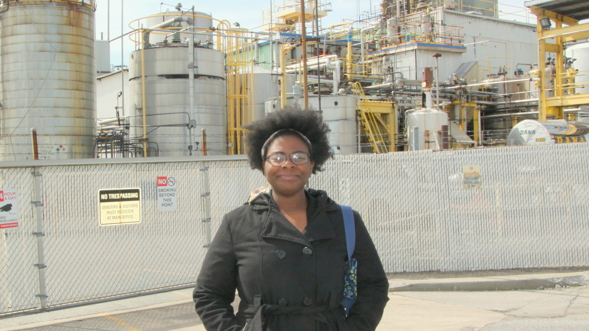 Destiny Watford, who led the opposition to the incinerator planned for Curtis Bay, is speaking out about Baltimore's existing incinerator, the BRESCO facility. (Fern Shen)