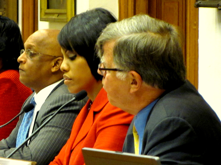 City Solicitor George Nilson (foreground) at a Board of Estimates meeting with Mayor Stephanie Rawlings-Blake. To her right is City Council President Jack Young. (Mark Reutter, 2015)