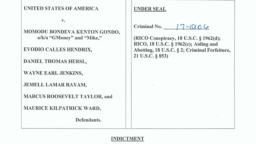 The first page of today's 45-page indictment of seven police officers. (U.S. Attorney for Maryland)