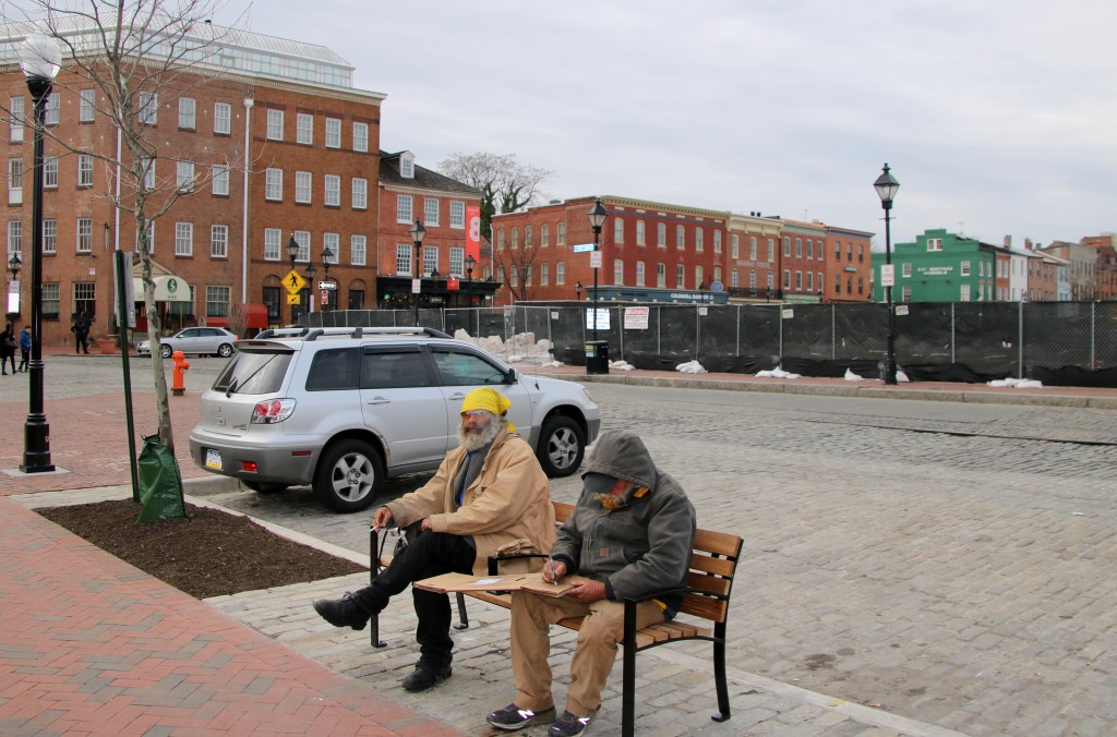 Fells Point's Broadway Square, fenced off for renovations. (Fern Shen)