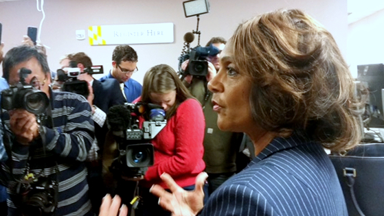 Sheila Dixon speaks to reporters about her write-in campaign for mayor last October that proved to be unsuccessful. (Mark Reutter)
