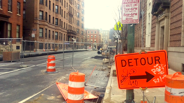 The 700 block of Catehdral Street will remain closed to traffic until the end of April, the city now says. (Mark Reutter)