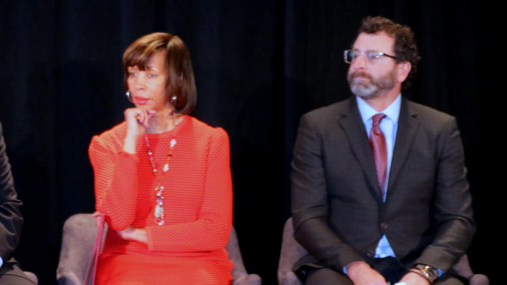 Mayor Catherine Pugh and J. Scott Plank at the Sagamore Pendry Baltimore ribbon-cutting event. (Fern Shen)
