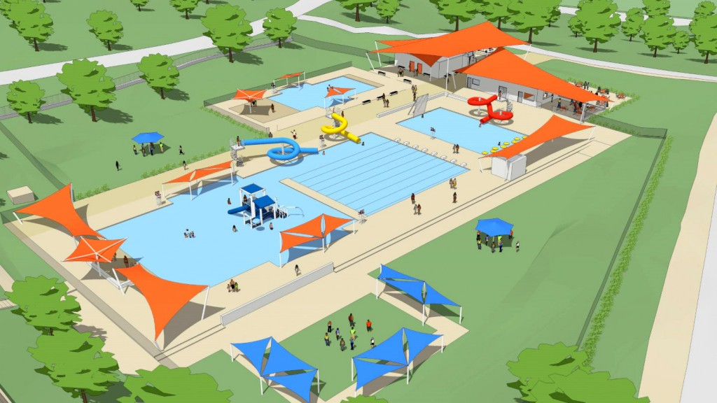 The redesigned aquatic center would have three pools and a new bath house. (Baltimore City Recreation and Parks)