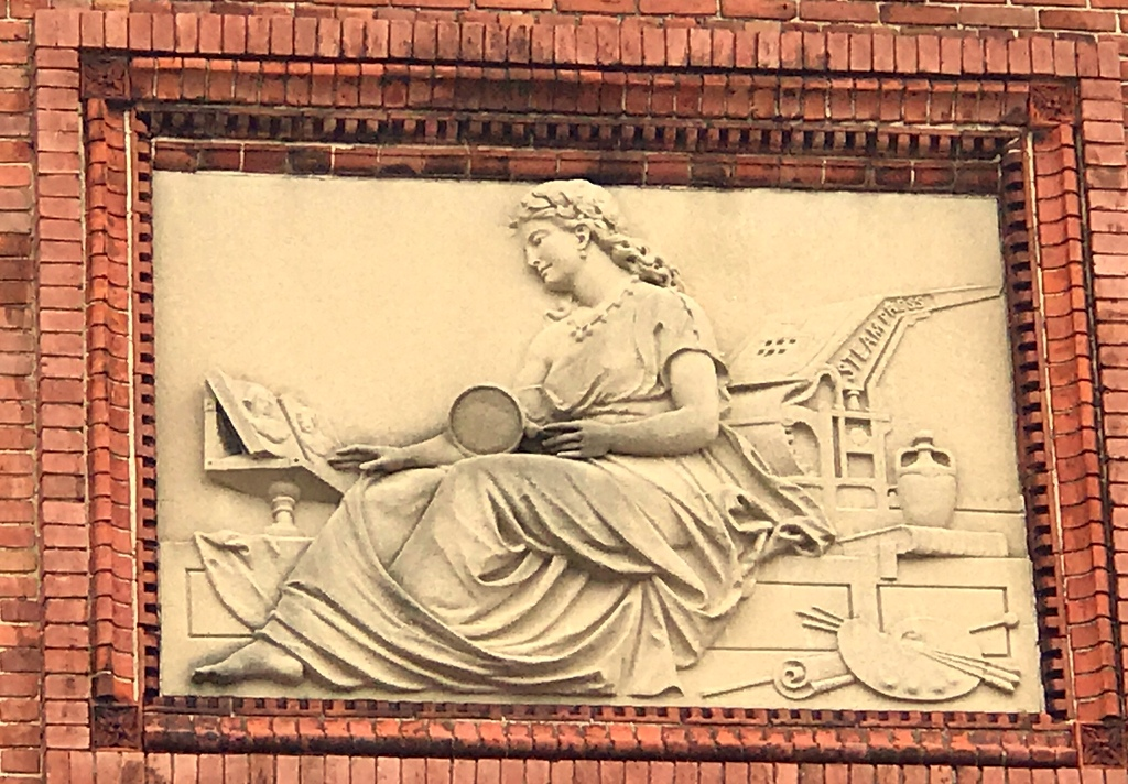 A detail from the Hoen Building. The company, dating back to the 1830s, was once one of the world's largest printers of smoking and chewing tobacco labels. (Mark Reutter)