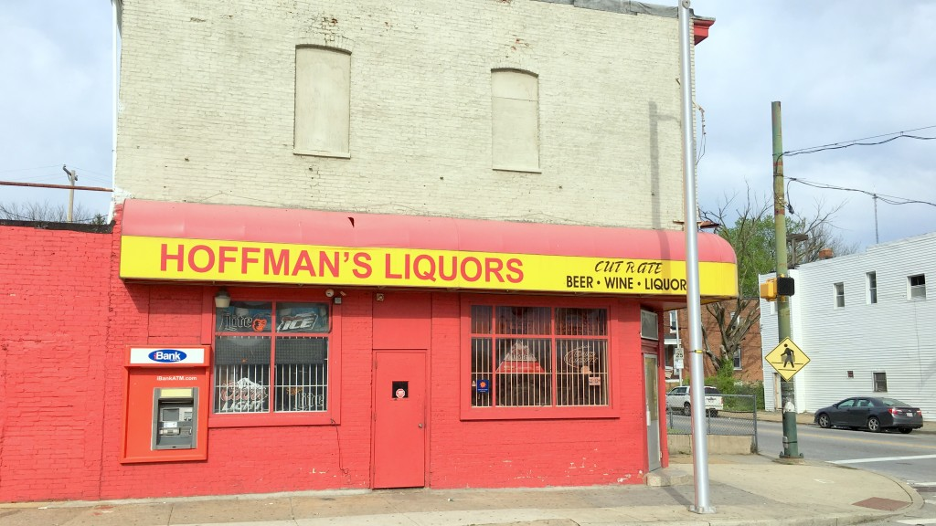 Hoffman's Liquors in Park Heights. (Fern Shen)