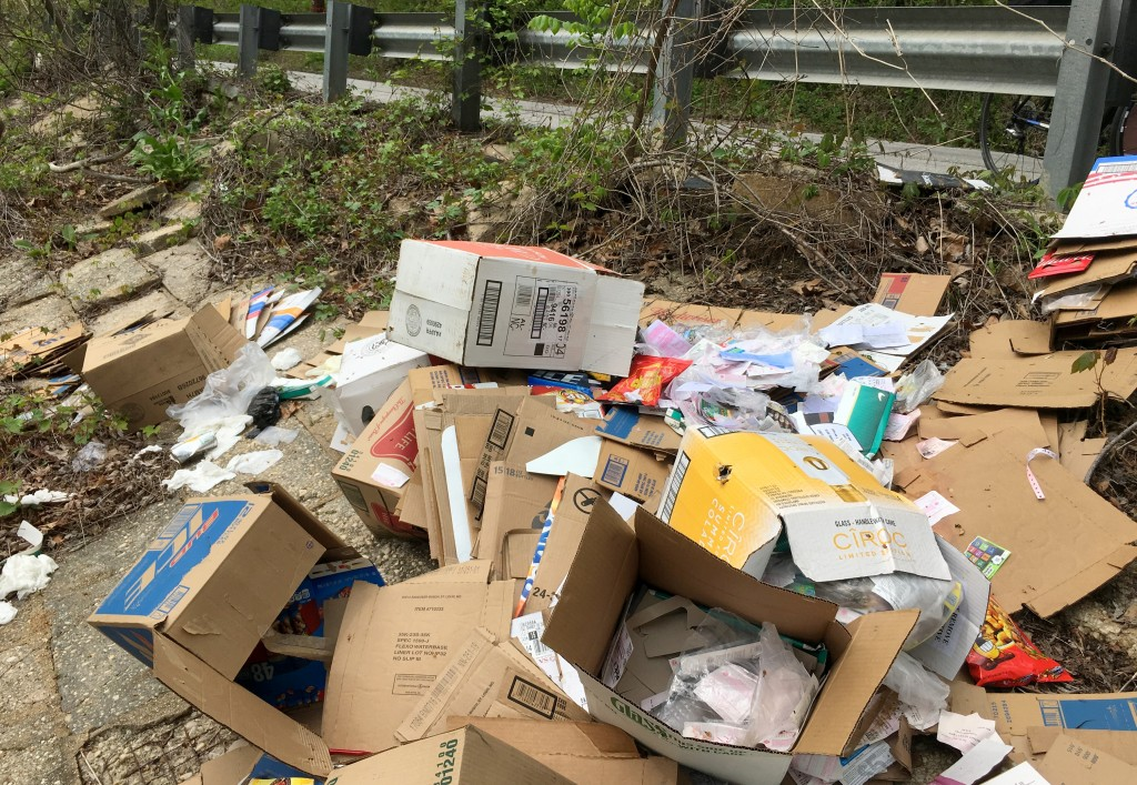 Refuse that appears to be from a Park Heights liquor store along Clipper Mill Road today. (Fern Shen)