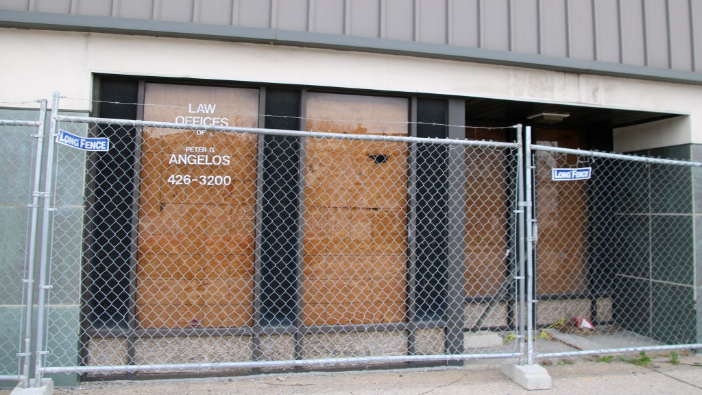 Where attorney Peter Angelos once had an office at 5901 Harford Road, now boarded-up. (Fern Shen)